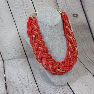 Jewelry - Red and Gold Oversized Braided Necklace